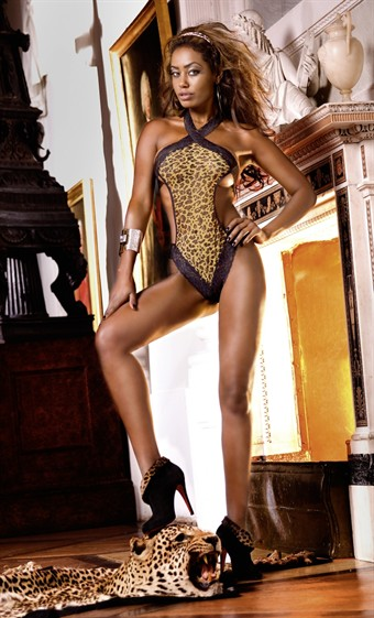 Image of   Baci Lingerie - Fin leopard net teddy med blonder