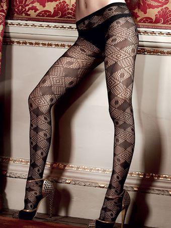 Billede af Baci Lingerie - Sorte netstrømpebukser med rudemønster