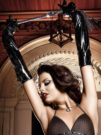 Image of   Baci Lingerie - Sorte handsker i skinnende look med snørelukning