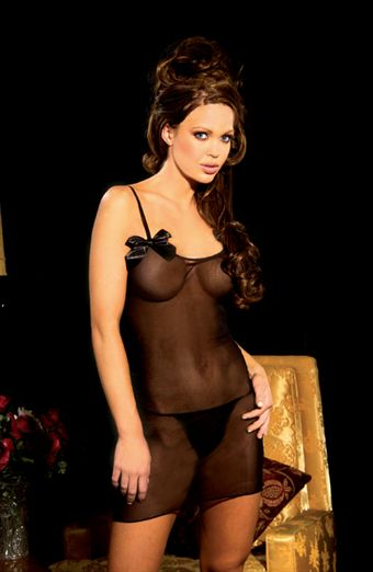 Elegant Moments Mesh Chemise & Thong Sort