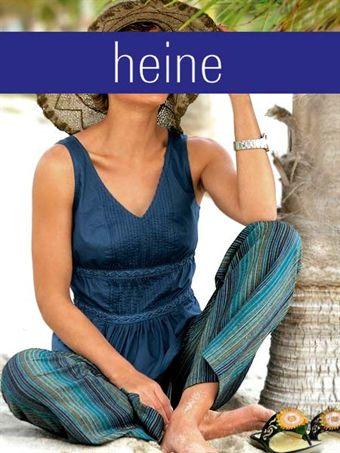 Billede af Heine Striped trousers with belt, blue