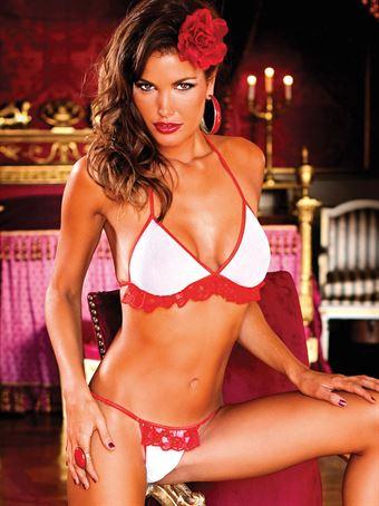 Billede af Baci Lingerie - Hvid-rødt bikini sæt med flæser