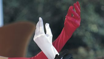 Image of   Shirley Long Satin Spandex Gloves Red