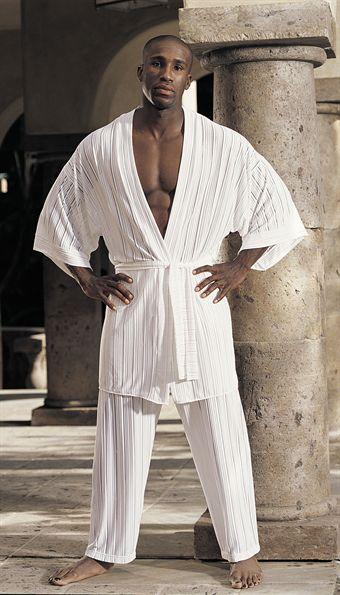 Image of   GyZ Stripe Spandex Kimono White OS