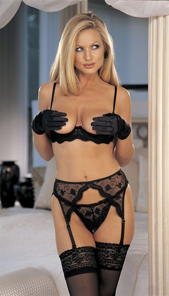 Billede af Shirley Scalloped Embroidery Shelf Bra Black