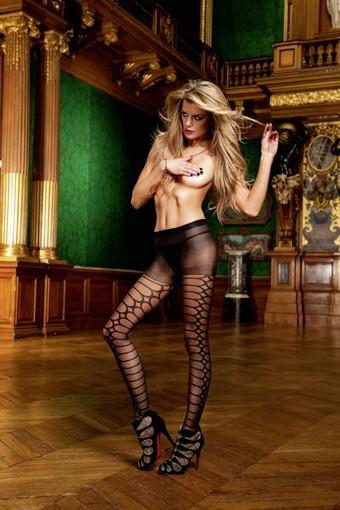 Billede af Baci Lingerie - Sorte jacquard-strømpebukser