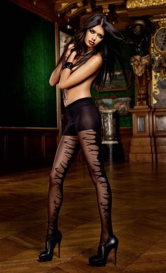 Billede af Baci Lingerie - Sorte jacquard strømpebukser