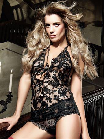Billede af Baci Lingerie - Sort halterneck-kjole af blonder