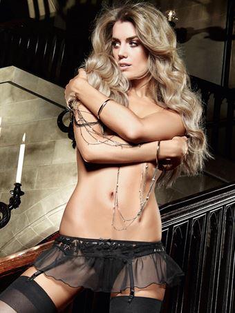 Image of   Baci Lingerie - Lille sort strømpeholder-nederdel med blondekant og snører