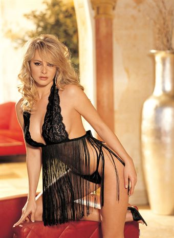 Billede af HOT Lingerie Stretch Lace and Fringe Baby Doll Black