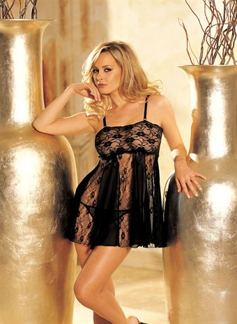Billede af HOT Lingeri STRETCH LACE AND SHEER NET AND LACE PANELS BABY DOLL Black