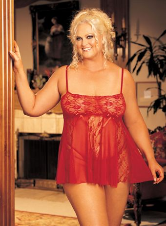 Billede af HOT Lingerie STRETCH LACE AND SHEER NET AND LACE PANELS BABY DOLL Red Plus Size