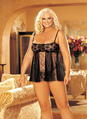 Billede af HOT Lingerie STRETCH LACE AND SHEER NET AND LACE PANELS BABY DOLL Black Plus Size