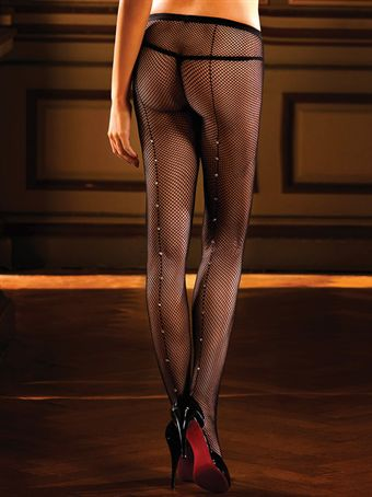Billede af Baci Lingerie - Sorte netstrømpebukser med pyntesøm