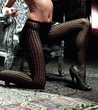 Image of   Baci Lingerie - Sorte netstrømpebukser med ekstravagant mønster