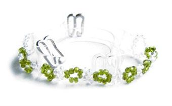 Image of   Green & White Beaded Clear Bra Straps