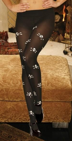 Image of   Elegant Moments Opague Pantyhose With Skull