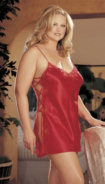 Billede af CHARMEUSE AND DYED-TO-MATCH LACE CHEMISE_2XL