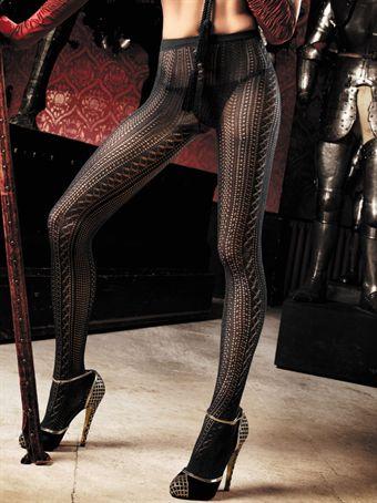 Billede af Baci Lingerie - Sorte netstrømpebukser med hæklemønster
