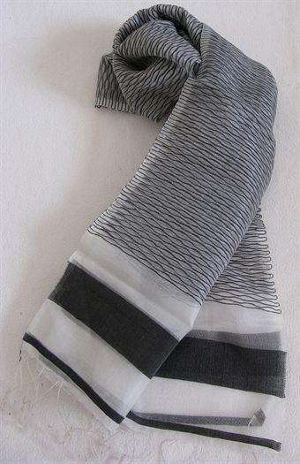 Image of   2145 Grå/Hvid 100% Silke