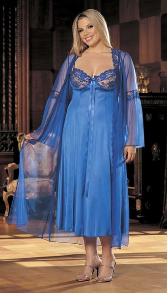 Image of   2 PC LONG GOWN PEIGNOIR SET